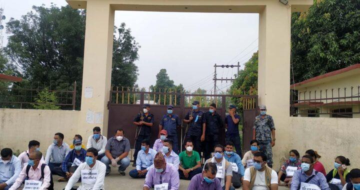 पत्रकार कुटपिट गर्नेलाई कावार्हीको माग गदै जिल्ला प्रशासन कार्यालय कैलालीमा धर्ना